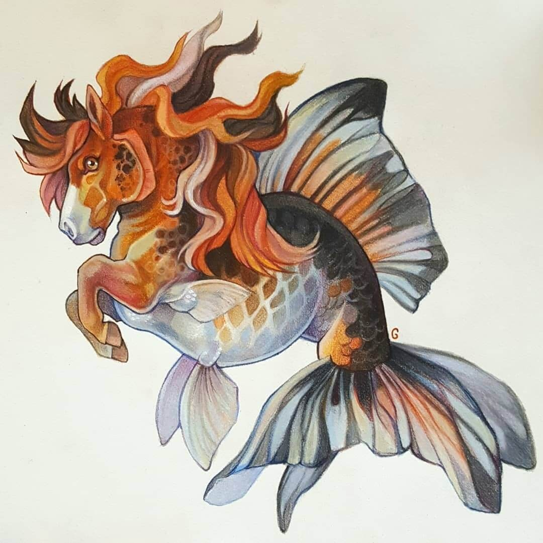 09-Hippocampus-Shetland-tricolour-goldfish-Grace-Fantasy-Animals-Colored-Pencils-Drawings-www-designstack-co