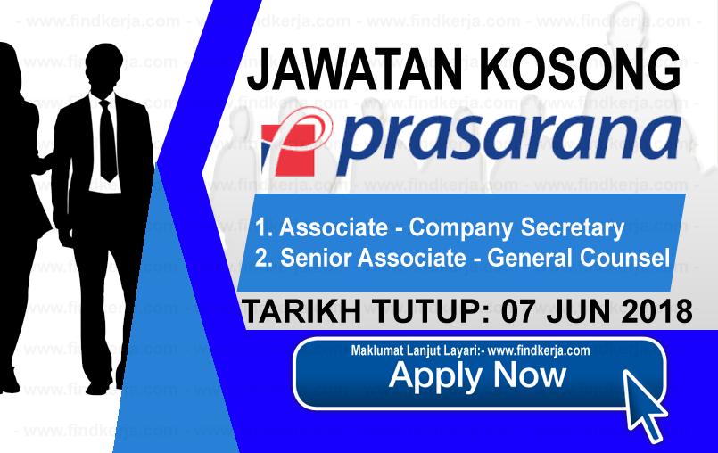 Jawatan Kerja Kosong Prasarana Malaysia Berhad logo www.findkerja.com jun 2018