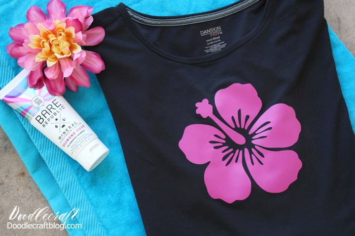 Hibiscus Swim Shirt with SportFlex Iron-on Vinyl with Cricut