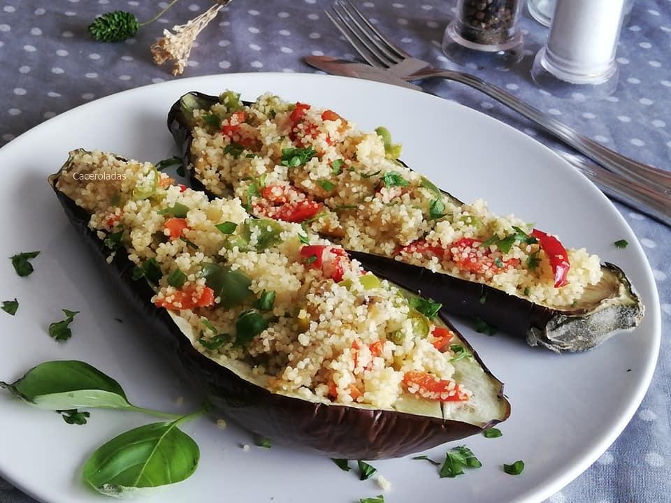 Berenjenas rellenas de cuscus y verduras