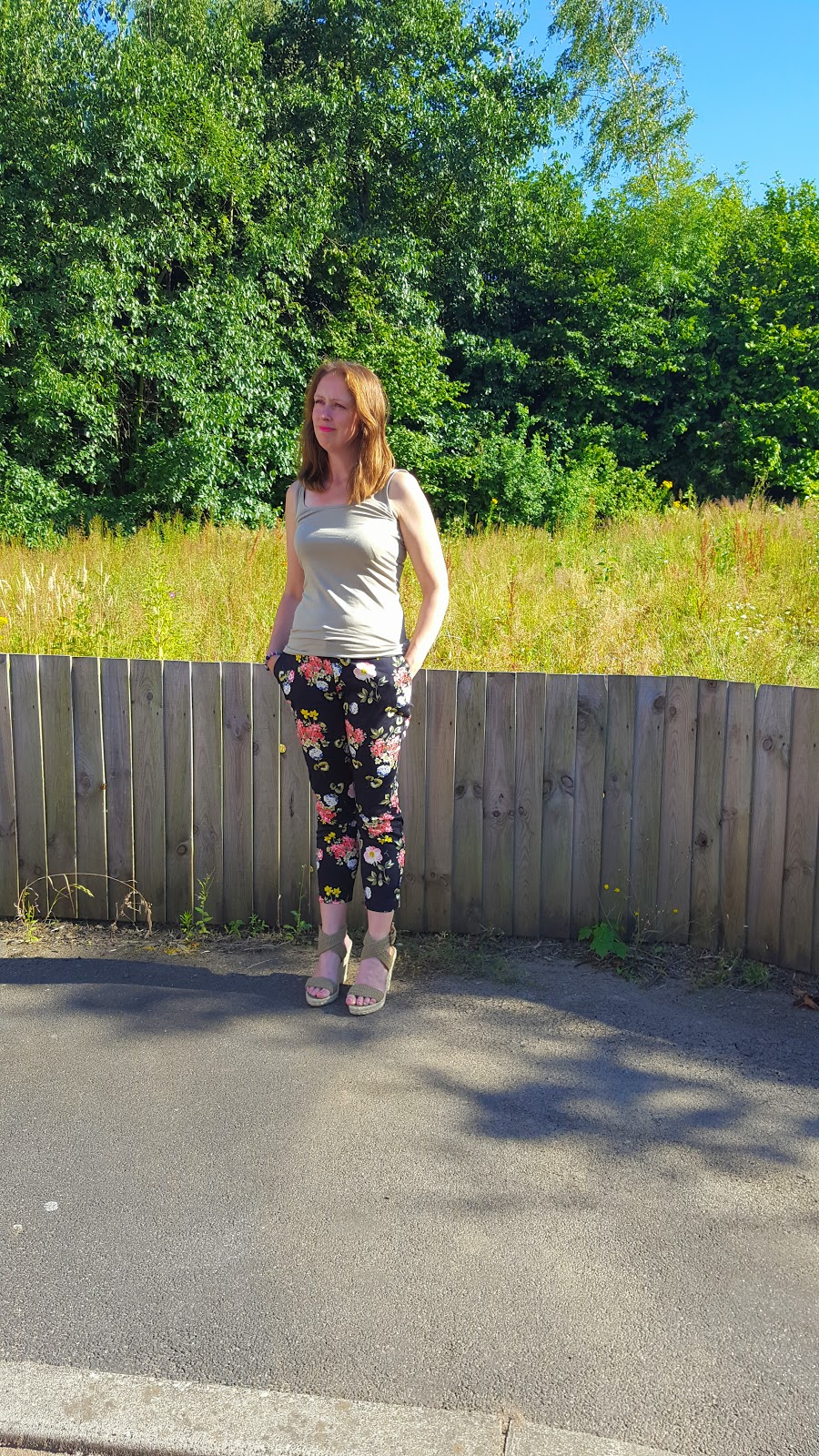 flowered crop trousers