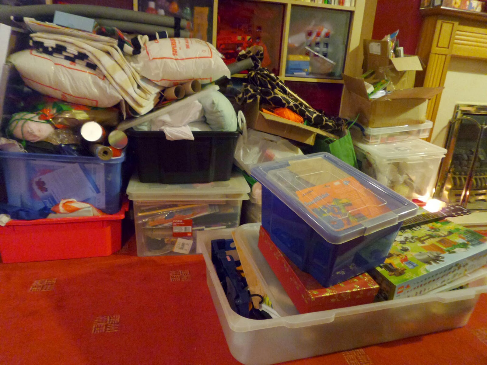 Pippa's stacks of Craft Boxes and Craft items