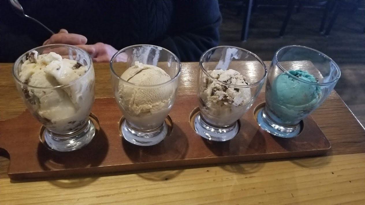 Ice cream flight from Browndog Barlor, Farmington, MI