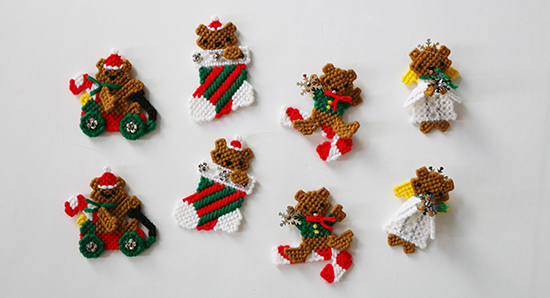 Set of Eight Plastic Canvas Teddy Bear Christmas Ornaments from a Kit