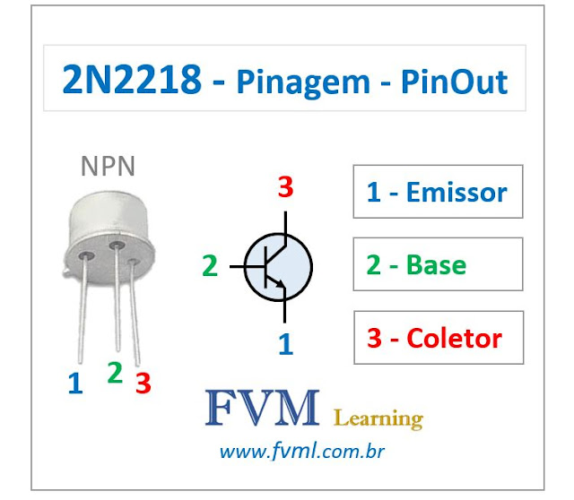 Pinagem - Pinout - Transistor - NPN - 2N2218 - Características