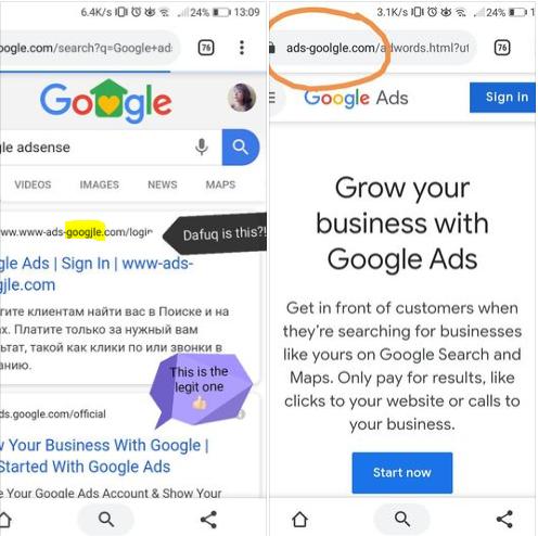 Google Account Phishing Warning