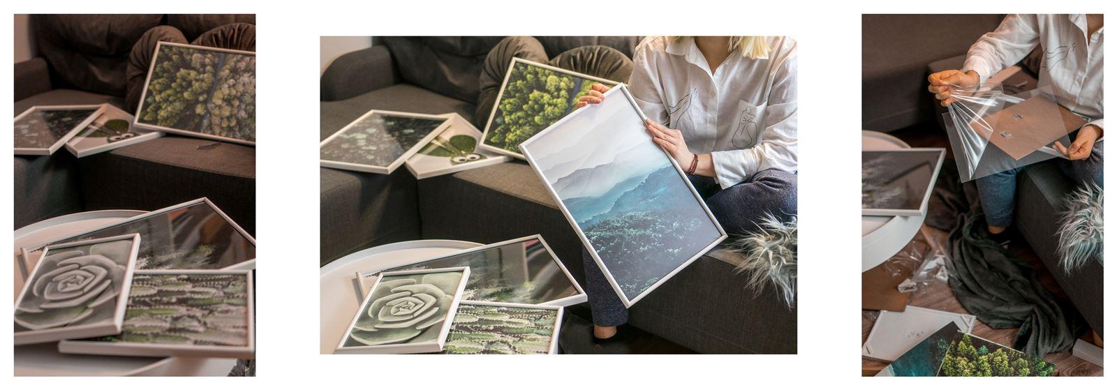 5A jak urządzić biuro w domu - dekoracje do biura, zielona ściana w mieszkaniu, jak zaprojektować galerię plakatów, plakaty krajobrazy rośliny na ścianę jak zawiesić obraz na ścianie plakaty z zielenią