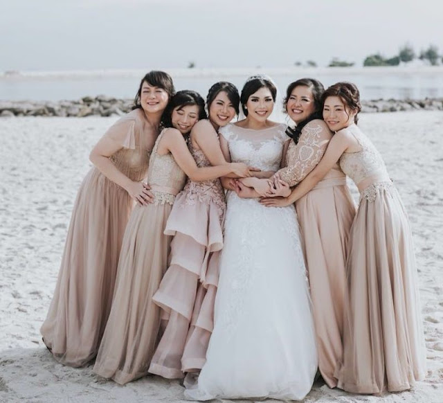 Champagne Gold long Bridesmaid dresses