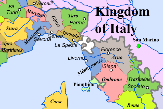 Map of Italy at the time of the First French Empire