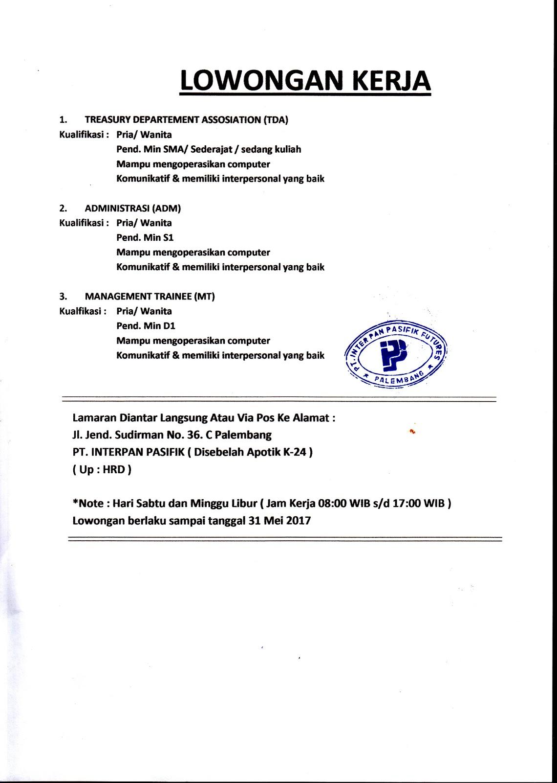 3 Lowongan Kerja Minimal Pendidikan SMA Palembang