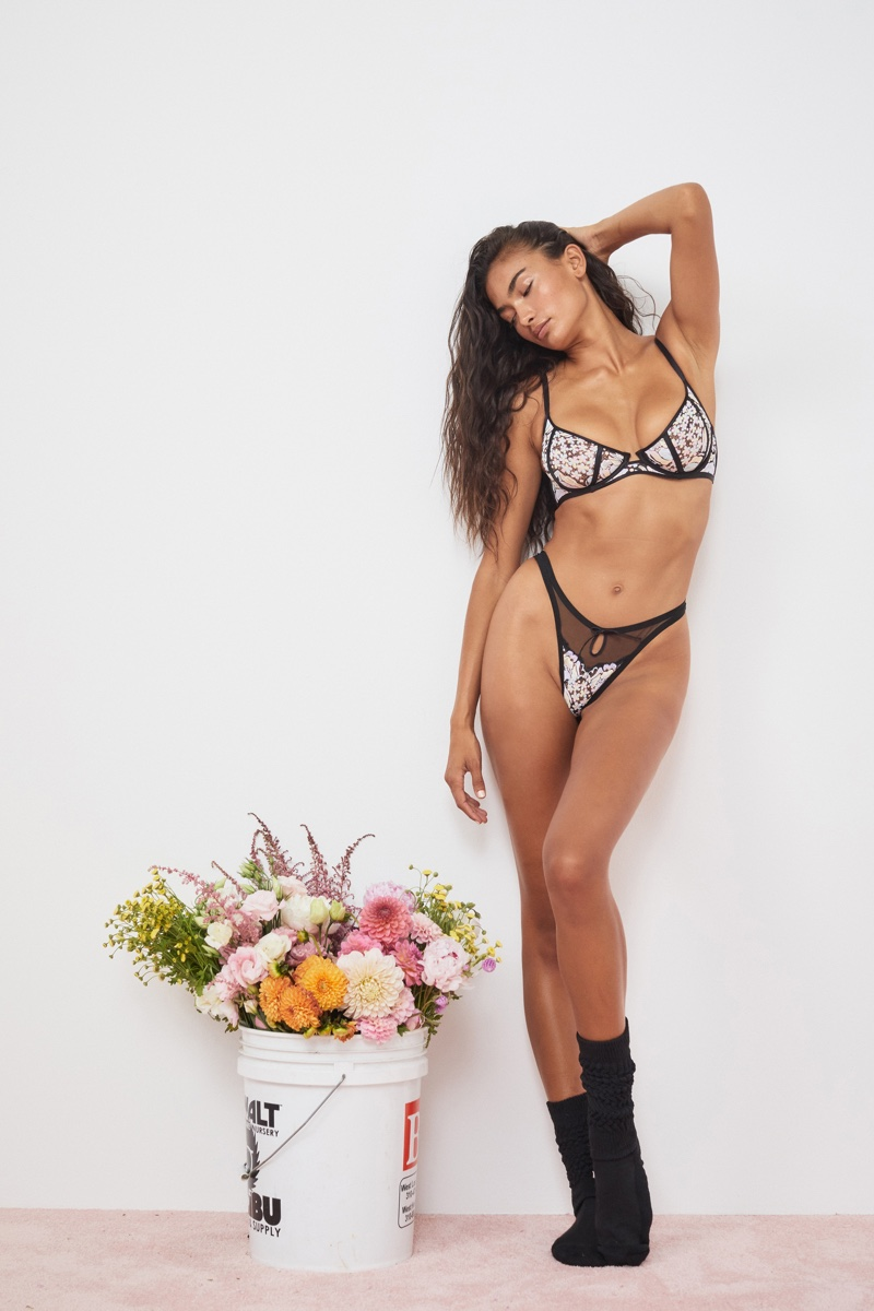 Kelly Gale models For Love & Lemons for Victoria's Secret fall 2021 collection.