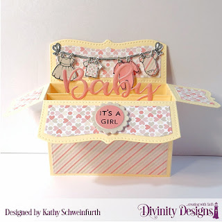 Stamp/Die Duos: Baby Clothesline, Bless this Baby, Custom Dies: Surprise Box Wide, Scalloped Circles, Circles, Paper Collection: Baby Girl