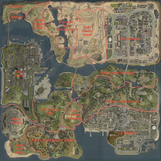 Grand Theft Auto San Andreas Arazi Haritası ve Bölge İsimleri