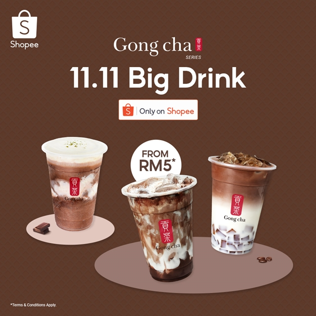 Gong Cha, Shopee, Choc out Gong Cha, Gong Cha  11.11, Big Drinks, Chocolate Latte Coffee Jelly, Chocolate Marble, Earl Grey Chocolate Smoothie, Food