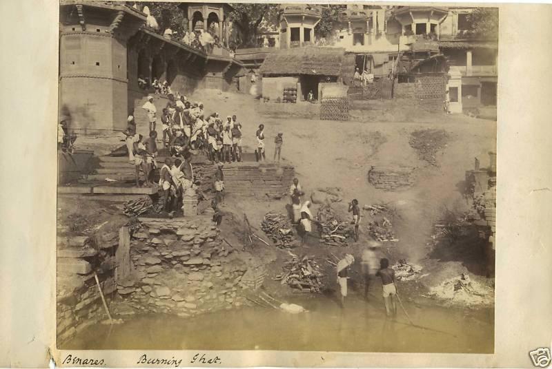 Burning Ghat of Benares (Varanasi) - 1894