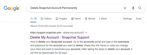 Delete My Account - Snapchat Support