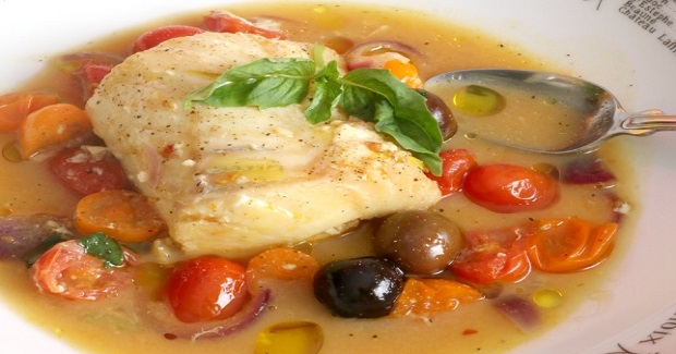Poached Cod With Tomatoes And Saffron Recipe