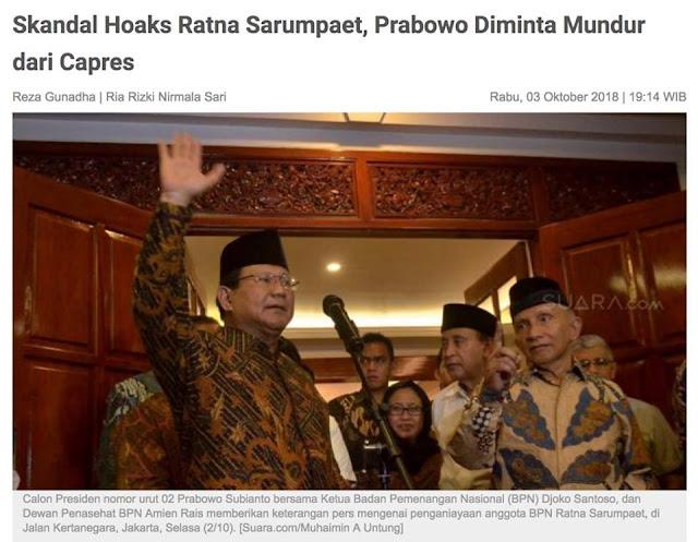 Skandal Hoaks Ratna Sarumpaet Prabowo Subianto Seorang Jendral Bisa Kenak Berita Hoaks Dan Sekarang Di Suruh Mundur Dari Capres