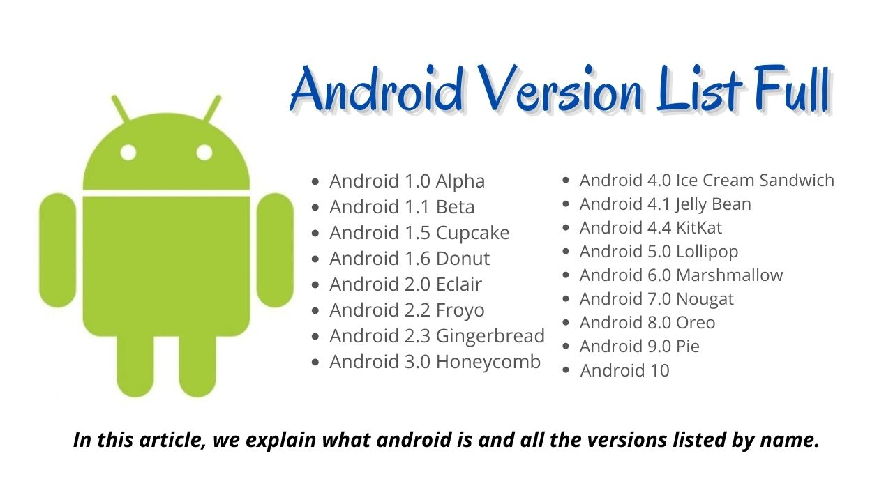 Android Version List Full
