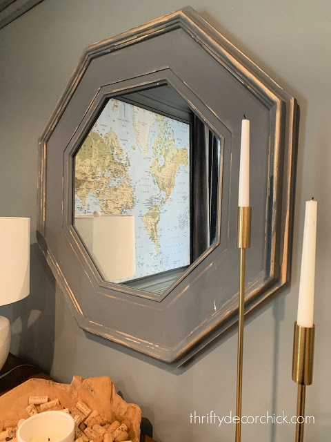 gold detail on gray mirror
