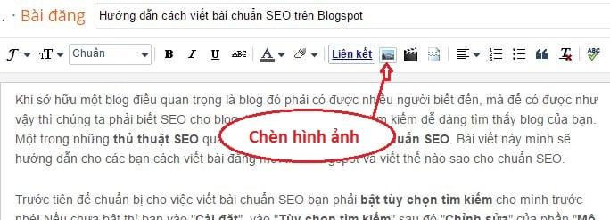 Chèn hình ảnh bài viết blogspot