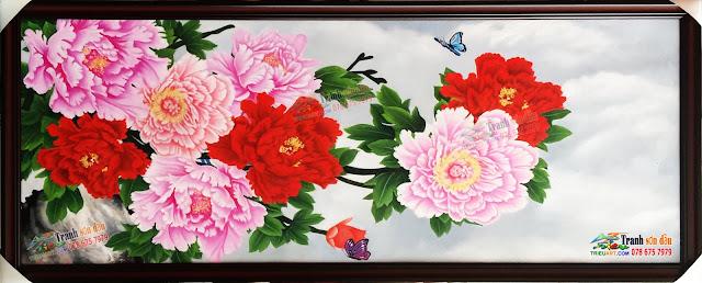 tranh vẽ hoa mẫu đơn bằng sơn dầu