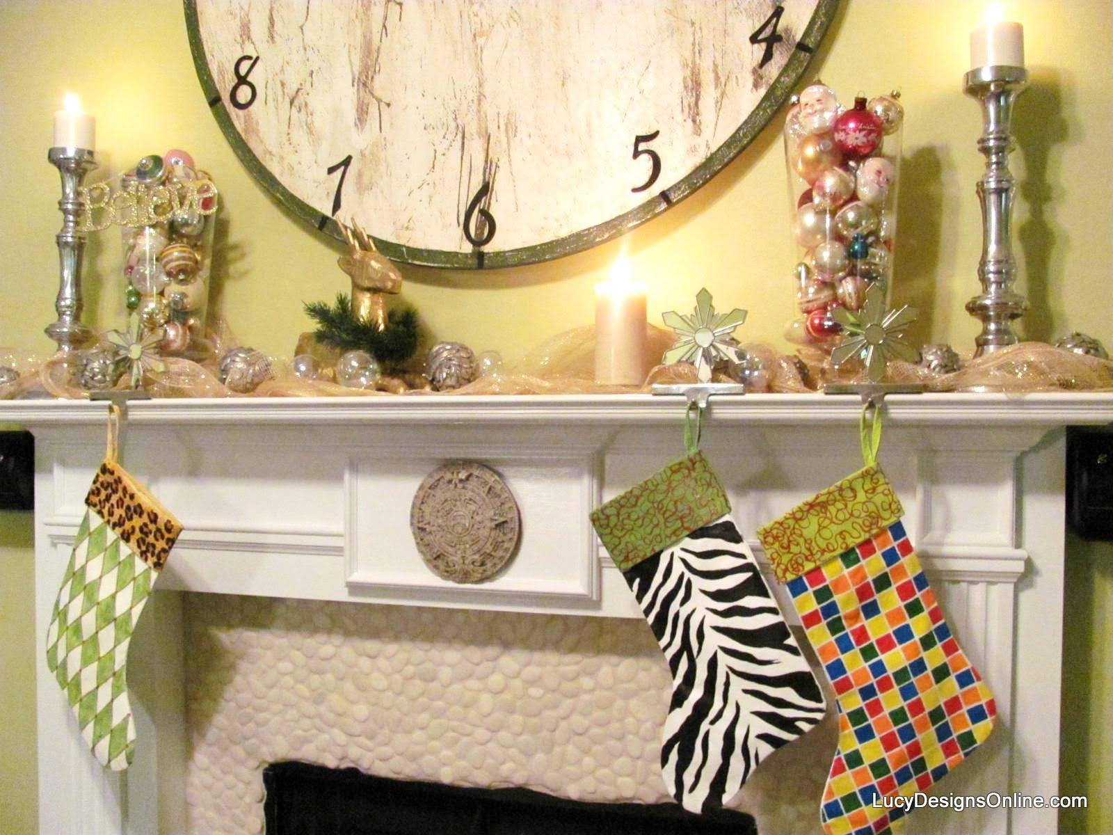 hand painted rubik's cube stocking, zebra stocking and harlequin and animal print stocking
