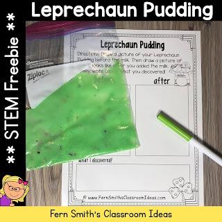 St. Patrick's Day Leprechaun Pudding Science STEM Activity Freebie