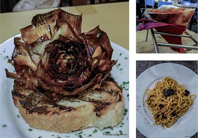 Pratos típicos de Roma: alcachofra, pasta com trufas e trippa alla romana