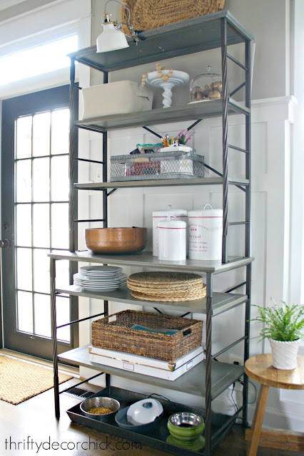 Wood and metal shelf for kitchen organization