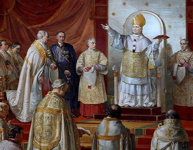 O Beato Papa Pio IX proclama o dogma da Imaculada Conceição, detalhe. Francesco Podesti, Sala da Imaculada, Museus Vaticanos