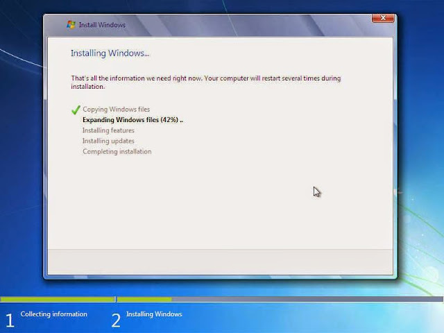 Proses transfer files windows 7