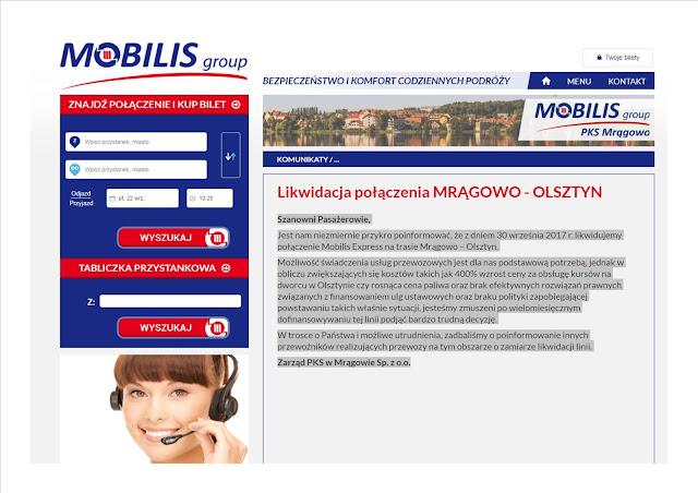 Likwidacji ulegają wszystkie połączenia na trasie relacji Mrągowo-Olsztyn