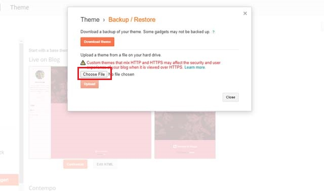 How to install theme on Blogger