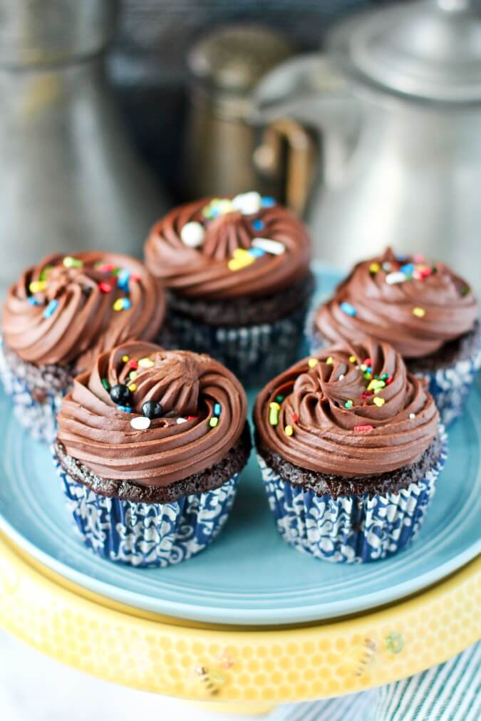 Chocolate Whiskey Cupcakes with sprinkles