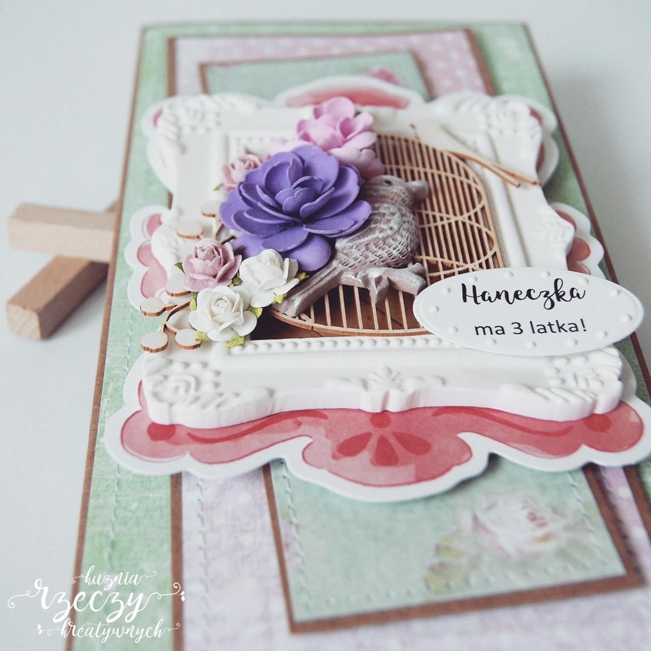 Ręcznie robiona kartka z okazji urodzin dziewczynki.