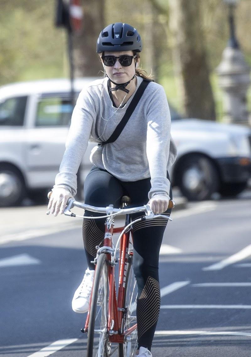 Lily James Riding a Bike Outside in London 11 Apr-2020