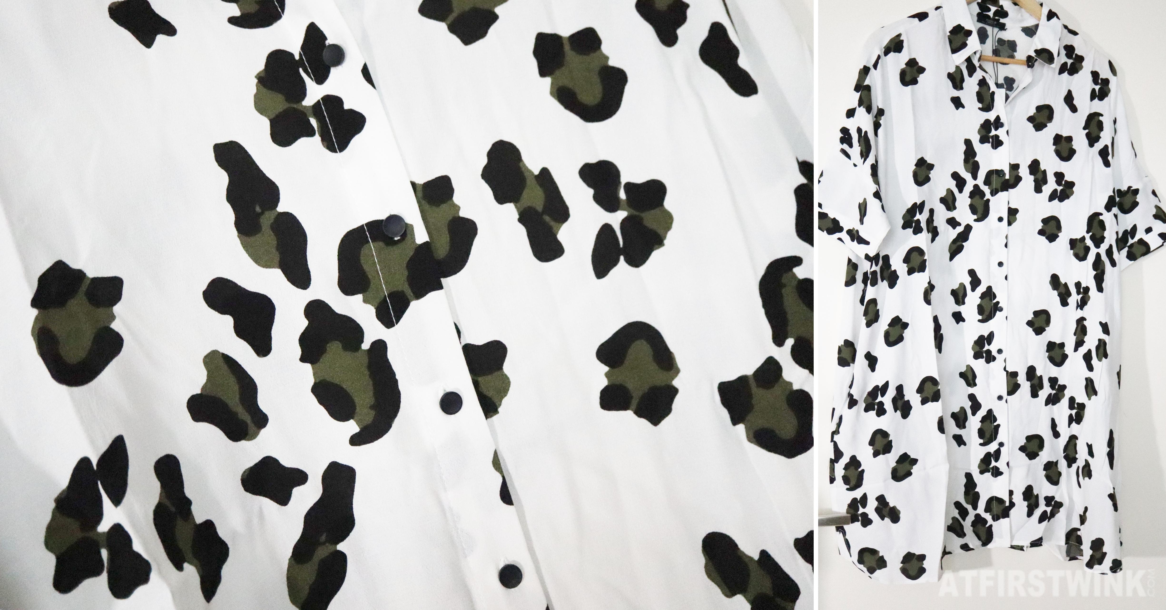 parfois white panther print shirt dress