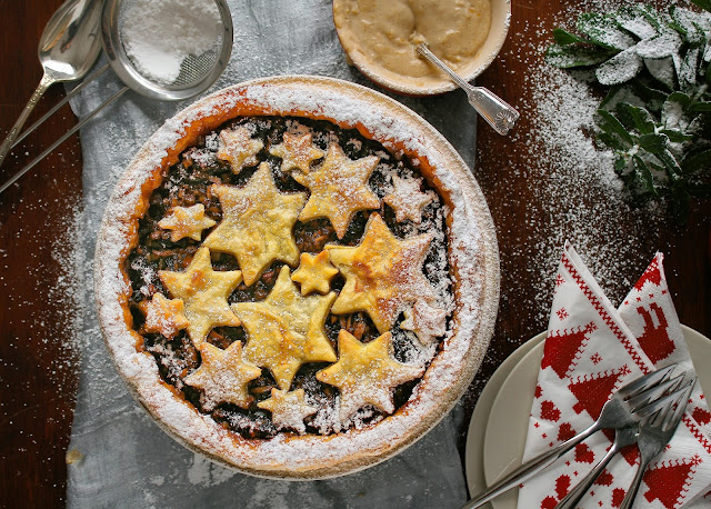 Fruit mince tart with puff pastry and Christmas custard.