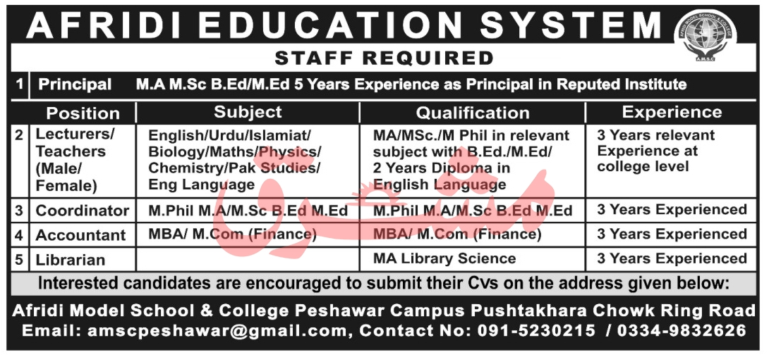 Afridi Model School & College Jobs 2021 in Pakistan - AMSC Jobs 2021 in Pakistan  - Online Apply - amscpeshawar@gmail.com