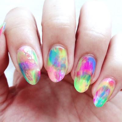 Neon Dry Brush Nails