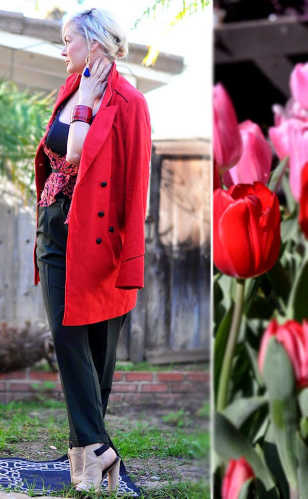 Red Oversized coat ASOS Beauty by SW fashion blog