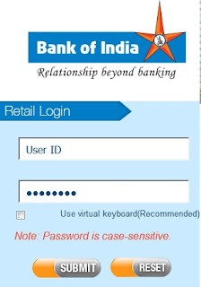 Bank of India Internet Bank Login Page