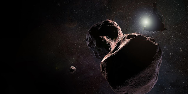"Artist's impression of NASA's New Horizons spacecraft encountering 2014 MU69, a Kuiper Belt object that orbits one billion miles (1.6 billion kilometers) beyond Pluto, on Jan. 1, 2019. With public input, the team has selected the nickname ""Ultima Thule"" for the object, which will be the most primitive and most distant world ever explored by spacecraft. Credits: NASA/Johns Hopkins University Applied Physics Laboratory/SwRI/Steve Gribben"