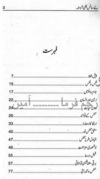Contents of Le Sans Bhi Ahista by Rais Amrohvi