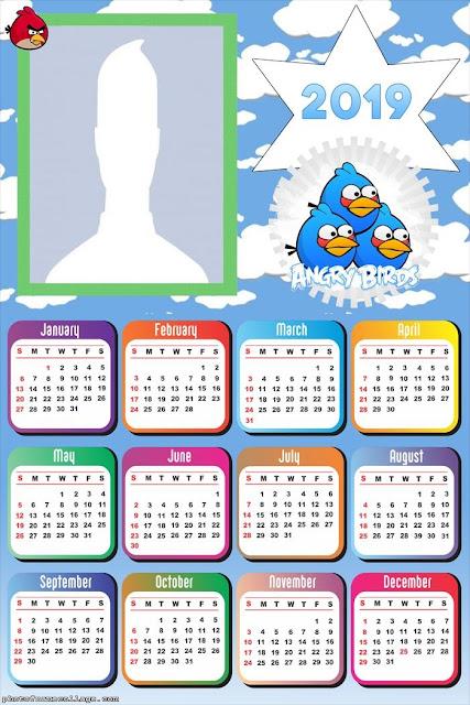 Free Printable Angry Birds 2019 Calendar.