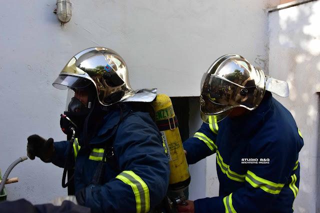 Φωτιά κατά την διάρκεια εργασιών σε υπόγειο στο Ναύπλιο