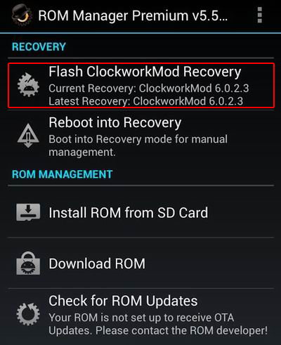 ROM Manager Apps