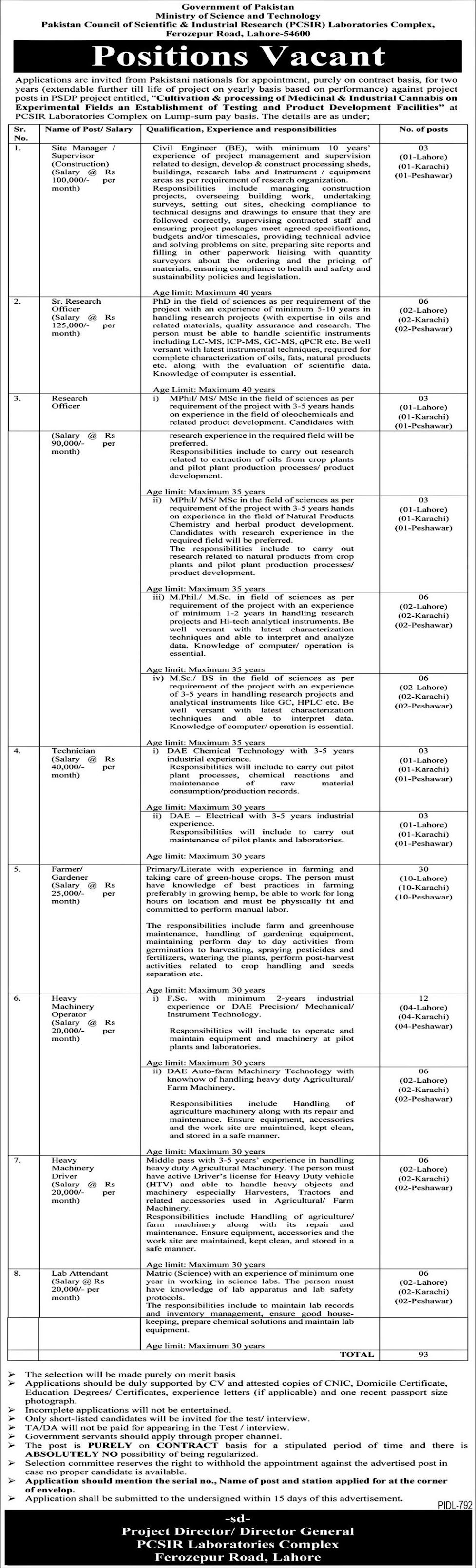 Pakistan Council of Scientific and Industrial Research PCSIR Laboratories Complex Jobs 2021