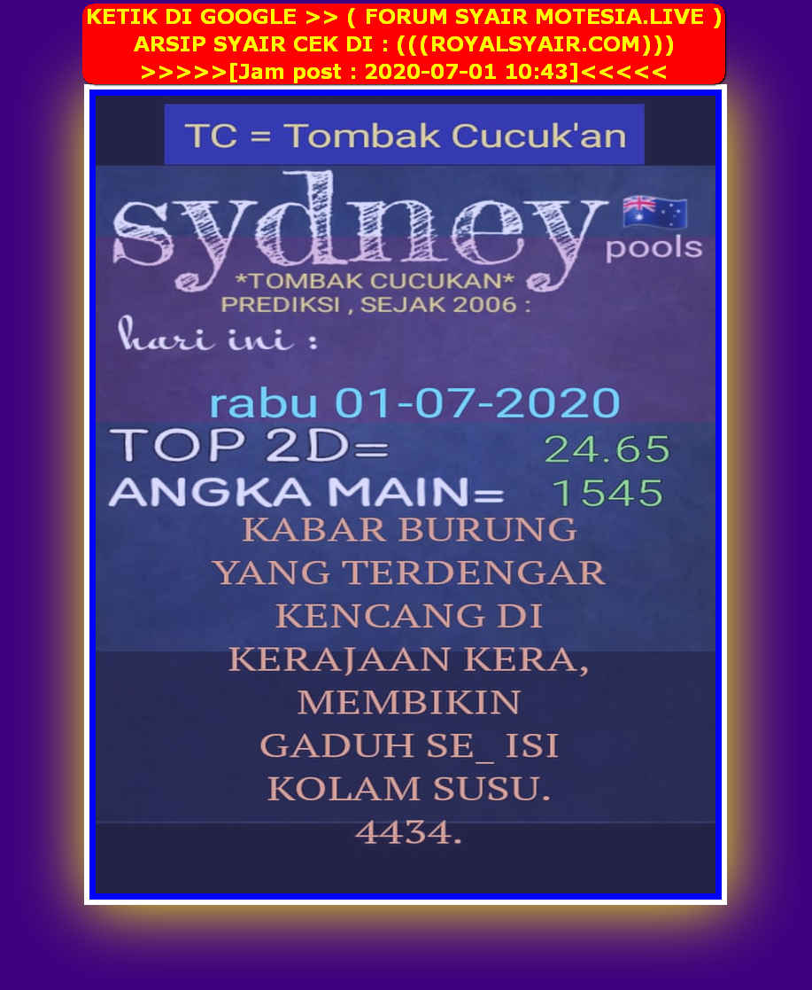 Kode syair Sydney Rabu 1 Juli 2020 23